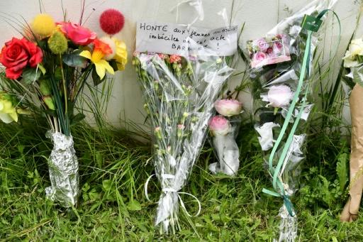 """Flowers were left at the crime site in Pau, with a note reading: """"Shame on the imbecile youngsters responsible for this barbaric act"""""""