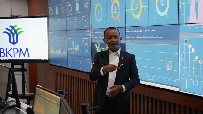 Kepala BKPM Bahlil Lahadalia meluncurkan Pusat Komando Operasi dan Pengawalan Investasi, Senin (23/3/2020). (Athika/Liputan6.com)