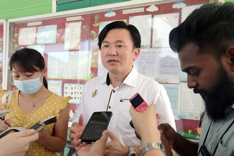 Tronoh assemblyman Paul Yong Choo Kiong speaks to reporters after checking the upgrading works at the SJKC Siputeh in Batu Gajah July 3, 2020. ― Picture by Farhan Najib