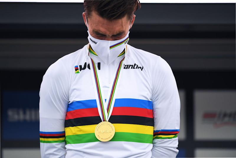 Julian Alaphilippe in the rainbow jersey as the 2020 world champion