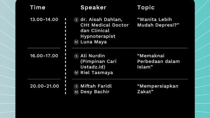Jadwal Program Live Kajian Hari Kedua Live Stream Fest Vol. 3 Edisi Ramadan