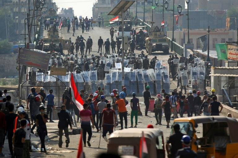 Iraqi security forces have battled to prevent the protesters camped out in east Baghdad from overrunning the bridges across the Tigris river that give access to government offices and foreign embassies on the west bank