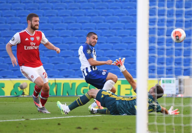 Maupay strikes late as Arsenal sunk by Brighton