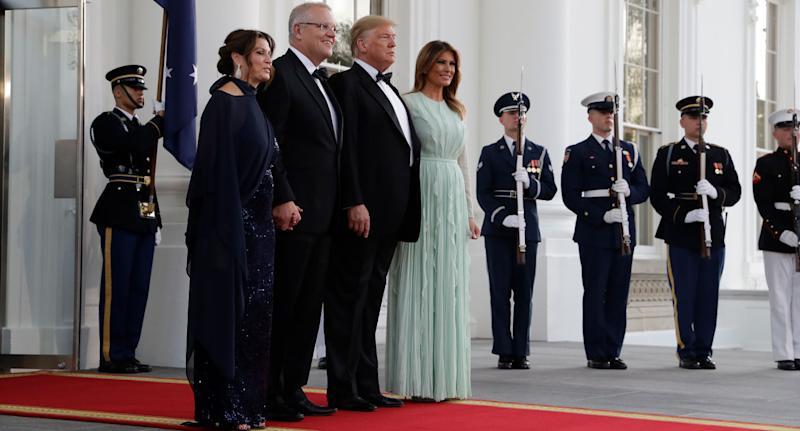 Jenny and Scott Morrison pose with US president Trump and his wife Melania at the state dinner.