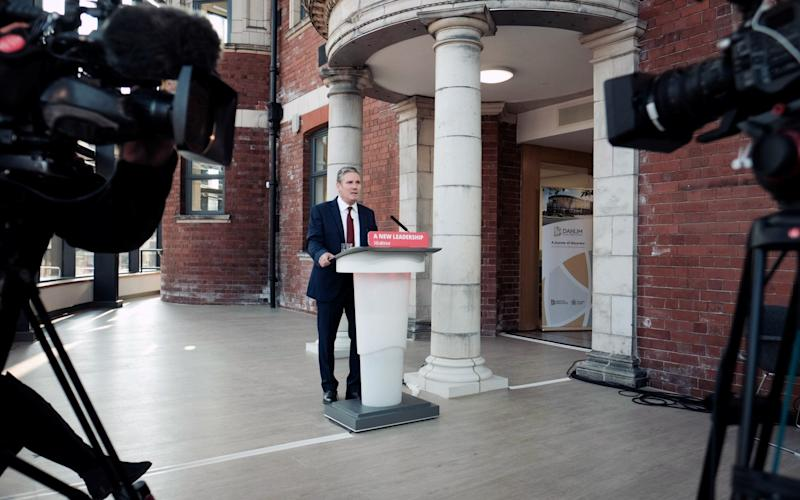 Labour leader Keir Starmer delivering his keynote speech during the party's online conference from the Danum Gallery, Library and Museum in Doncaster - Reuters/Pool