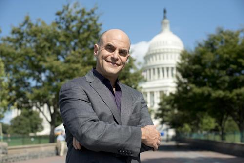 "This Sept. 2012 photo released by PBS shows host Peter Sagal of ""Constitution USA with Peter Sagal,"" premiering Tuesday, May 7, 2013 at 9 p.m. EST on PBS. (AP Photo/PBS, Peter Krogh)"