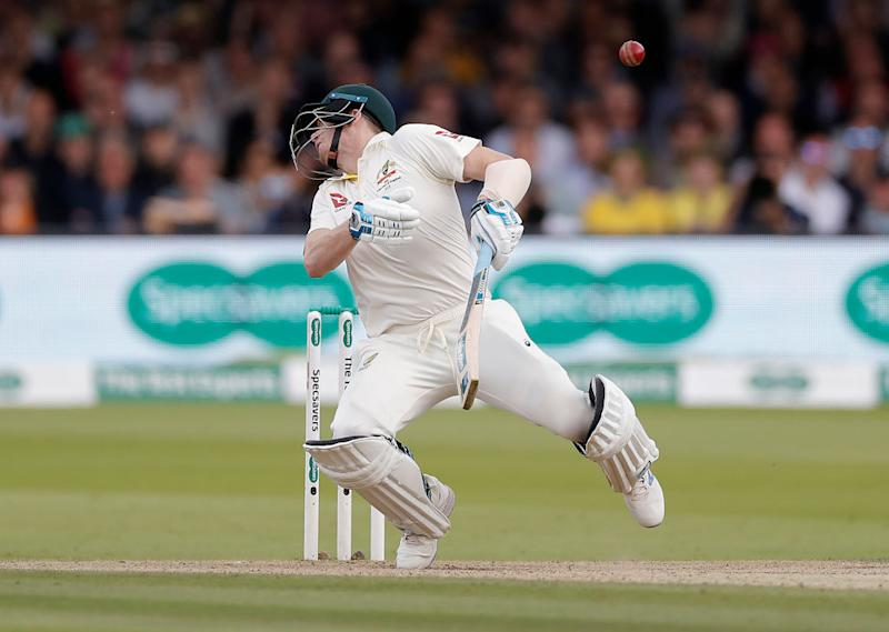 Steve Smith of Australia is struck by a delivery from Jofra Archer of England. (Photo by Ryan Pierse/Getty Images)