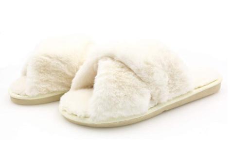 Topgalaxy.Z Fuzzy Slippers in beige