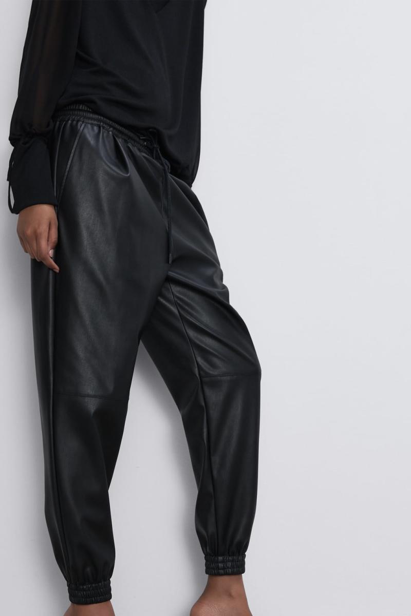 Zara Faux Leather Jogging Pants