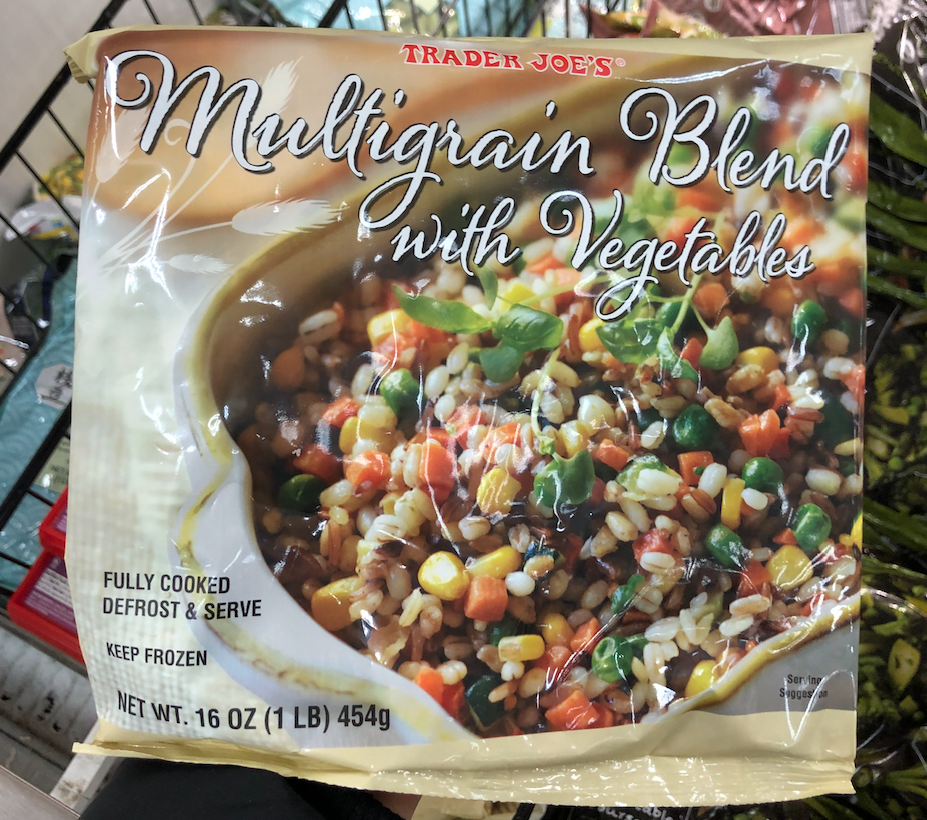 <p>This delicious frozen blend features barley, corn, peas, carrots, zucchini, spices, and different types of rice. A serving has 180 calories and only 330mg sodium, which is a fraction of most pre-packaged grain blends.</p>