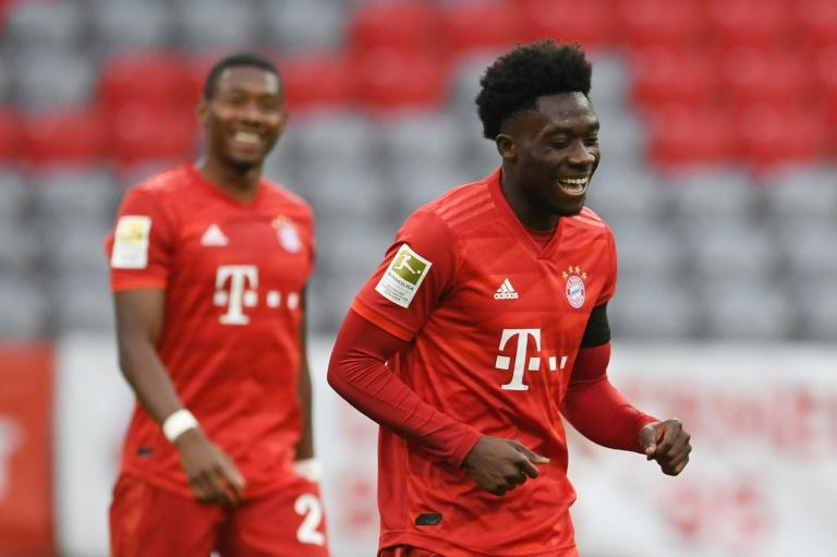 Canadian teenager Alphonso Davies celebrates scoring Bayern Munich's fourth goal