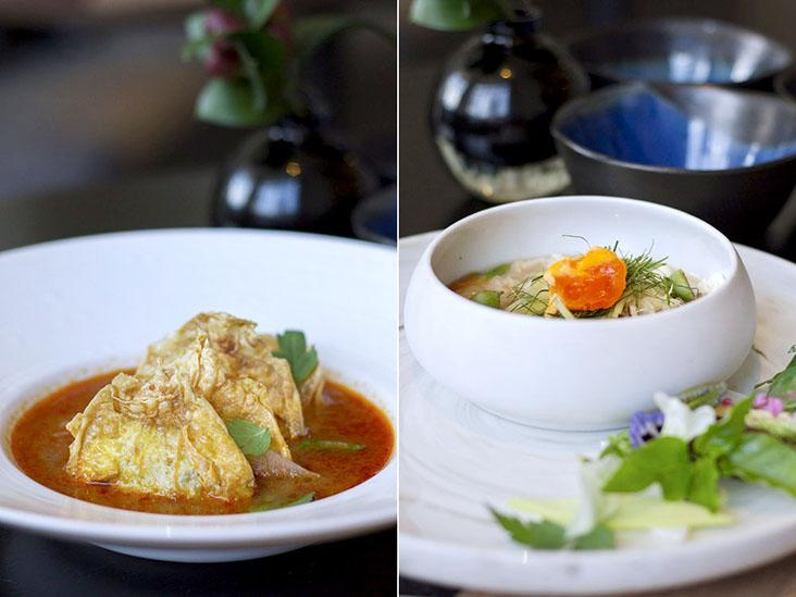 Pickled watermelon rind and fish roe soup with jicama dumplings (left). 'Lon' of Australian spanner crab topped with Nan province salted duck egg (right).