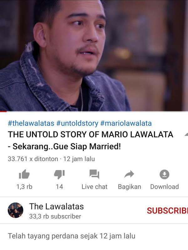 Unggahan Mario Lawalata. (Foto: YouTube The Lawalata)