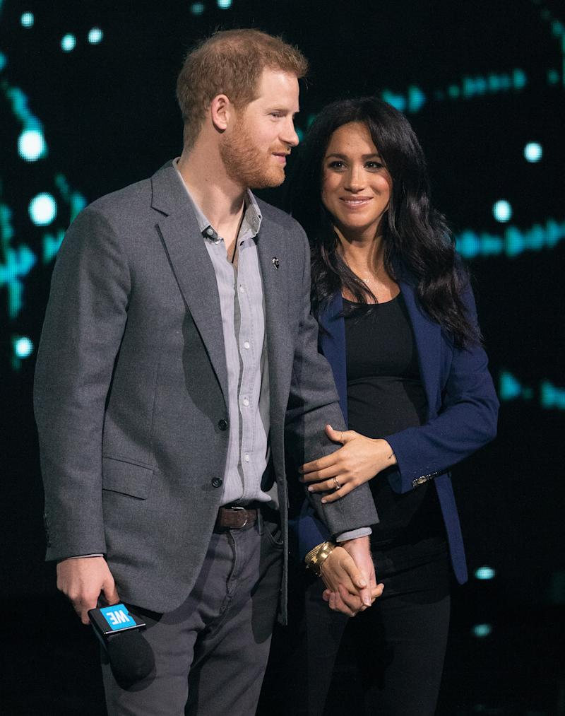 LONDON, ENGLAND - MARCH 06: Prince Harry, Duke of Sussex and Meghan, Duchess of Sussex on stage at We Day UK at SSE Arena on March 06, 2019 in London, England. (Photo by Jo Hale/Redferns)