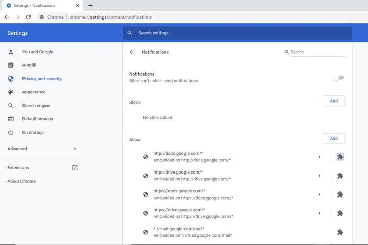 Google Chrome Block or Add Websites