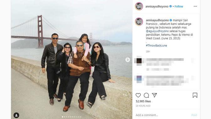 Annisa Pohan membagikan potret kenangan bersama Ani Yudhoyono saat berkunjung ke San Fransisco, Amerika Serikat pada 15 Juni 2015 lalu. (dok. Instagram @annisayudhoyono/https://www.instagram.com/p/CBBB_1nj-Et/?hl=en/Putu Elmira)