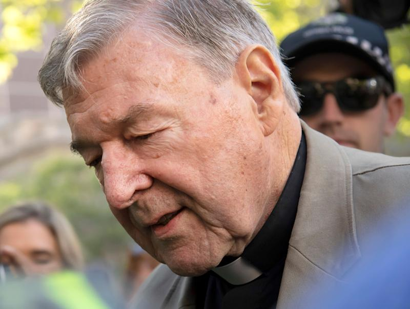 Cardinal George Pell arrives at the County Court in Melbourne, Australia, Wednesday, Feb. 27, 2019.