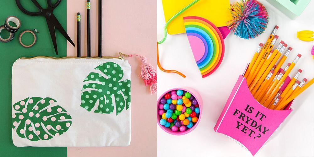 """<p>Remember the excitement of pulling out your fresh <a href=""""https://www.goodhousekeeping.com/childrens-products/kids-backpack-reviews/g149/best-kids-backpacks/"""" target=""""_blank"""">Jansport backpack</a>  and those brand-new <a href=""""https://www.goodhousekeeping.com/life/parenting/tips/a17427/school-shopping-lists/"""" target=""""_blank"""">school supplies</a> for the first time? Same. And while many things have changed over the years, the universal love for cute pencils, notebooks, and arts and crafts will never be too cool for school. Start your students's year off in style — from pre-k through high school — with these easy back-to-school crafts. </p><p>Bonus: Not only are these projects fun to make, they serve a purpose, too. From desk organization to places to keep notes and reminders to locker decorations, your kids will keep using their creations for the rest of the year. (Which means that you don't need to figure out a place to keep them once they're done.) </p><p>So, what's your kid's style? Are they looking to celebrate the fall spirit and take on an apple-themed project? Are they looking for something trendy and of-the-moment, filled with emojis or rainbows? Or do they want something more classic and watercolor-inspired? No matter what their school style is, they can DIY a back-to-school craft to match — and we give that an A+.</p>"""