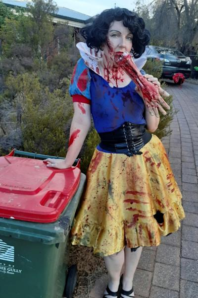 Jodie Bignall dressed as Snow White to take out her trash in Adelaide, Australia