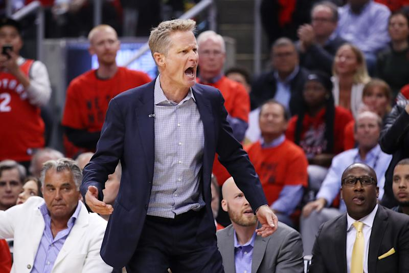 Steve Kerr had some strong words about the situation that brought Anthony Davis to the Lakers. (Photo by Gregory Shamus/Getty Images)
