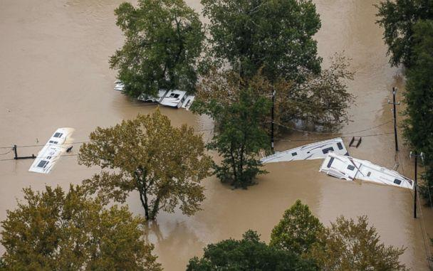 PHOTO: Recreational vehicles are submerged in floodwaters following Hurricane Harvey, Aug. 29, 2017, in Houston, Texas. (Marcus Yam/Los Angeles Times via Polaris)
