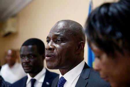 Martin Fayulu Congolese joint opposition presidential candidate speaks during a press conference in Kinshasa