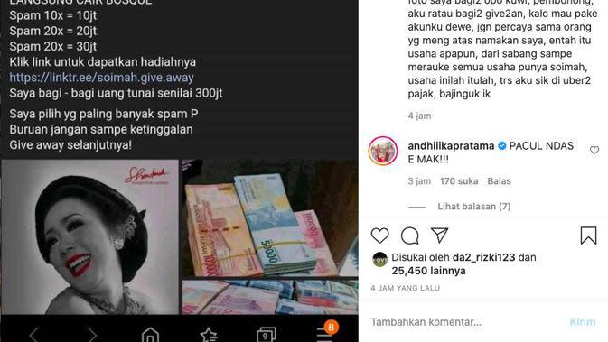 Nama dan foto Soimah dicatut orang tak dikenal di media sosial untuk melakukan penipuan. (instagram.com/showimah)
