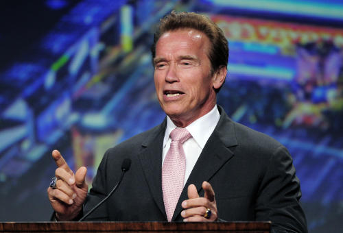 FILE - In this Aug. 4, 2011 photo, former California Governor Arnold Schwarzenegger speaks after being honored by the Los Angeles Chamber of Commerce at the annual convention of the American Chamber of Commerce Executives, in Los Angeles. Arnold Schwarzenegger will be making his movie comeback in New Mexico. (AP Photo/Mark J. Terrill, File)