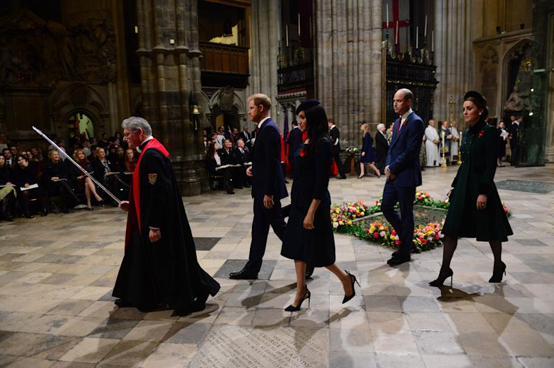 The Duke and Duchess of Sussex were seen entering the church first, before the Duke and Duchess of Cambridge followed. Photo: Getty Royal fab four reunite for Remembrance Day service: Prince William, Kate Middleton, Prince Harry, Meghan Markle