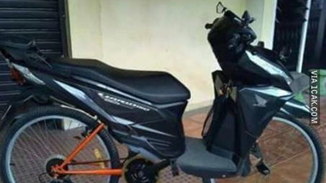 Modifikasi Nyeleneh Sepede Ini Bikin Heran dan Ketawa Geli (sumber:1cak.com).
