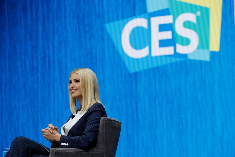 Ivanka Trump, daughter of President Donald Trump, speaks in a keynote address during the 2020 CES in Las Vegas