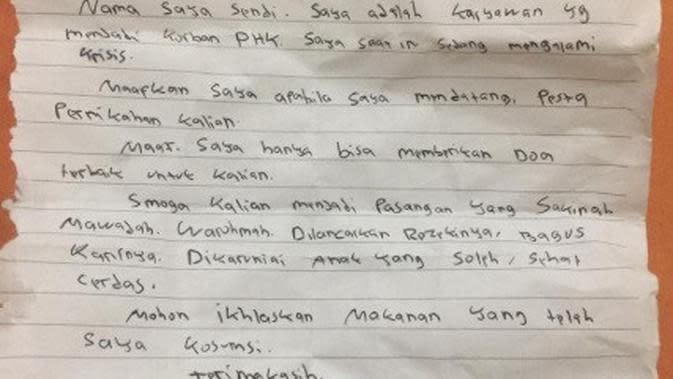 Top 3: Surat Menyedihkan Pria yang Menumpang Makan di Pesta Pernikahan Orang