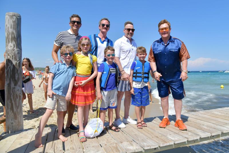 Elton John, David Furnish and kids Harper and Gideon, Neil Patrick Harris and David Burtka and children Zachary and Elijah on the Jetty of Saint-Tropez harbour. Photo: Mega