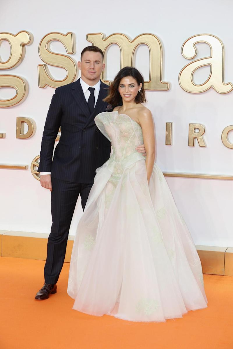 Split : Channing and Jenna attend the 'Kingsman: The Golden Circle' World Premiere in 2017 (Getty Images)