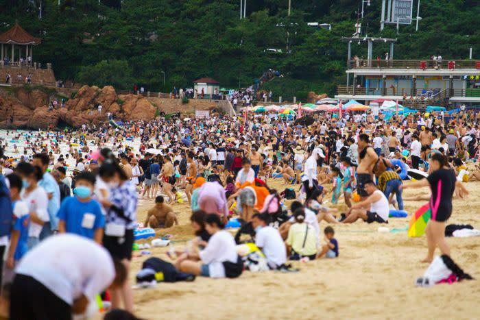 A very crowded beach