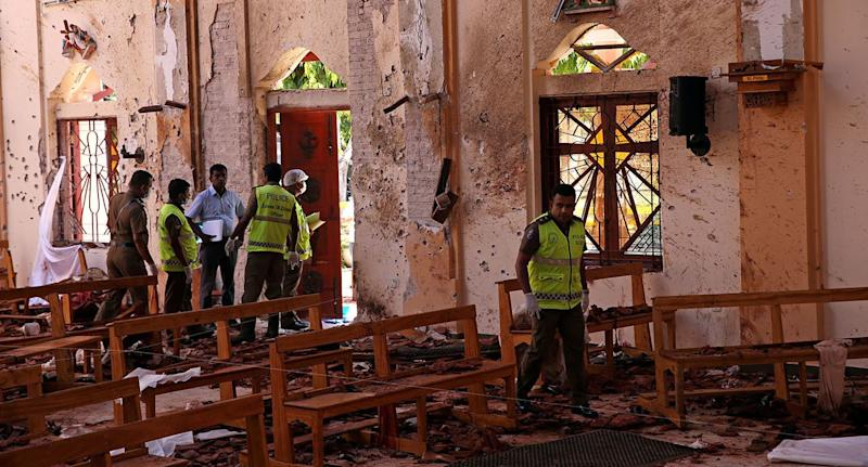 The inside of the church following the devastating blast that killed more than 100 people. Source: Reuters
