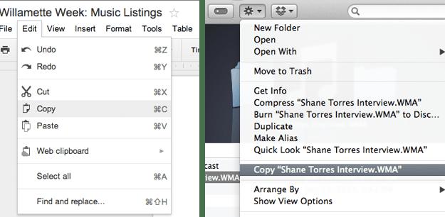 Mac OS X copy content