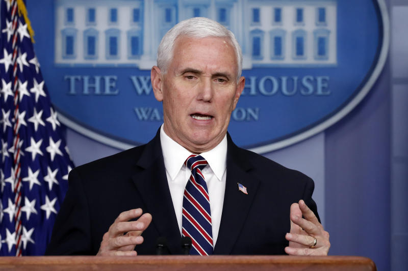 Vice President Mike Pence speaks about the coronavirus in the James Brady Press Briefing Room of the White House, Thursday, April 2, 2020, in Washington. (AP Photo/Alex Brandon)