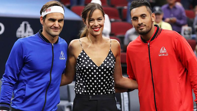 Roger Federer, Ana Ivanovic and Nick Kyrgios, pictured here at the 2018 Laver Cup.