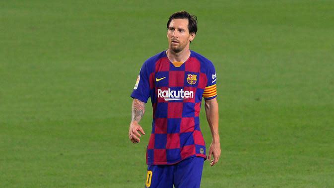 2. Lionel Messi - Messi masih memiliki catatan luar biasa dalam penampilan individu di kompetisi La Liga. Pemain berusia 33 tahun ini mencetak 25 gol dan 21 assist, paling banyak dibanding pemain lain di La Liga musim 2019-2020. (AFP/Pau Barrena)