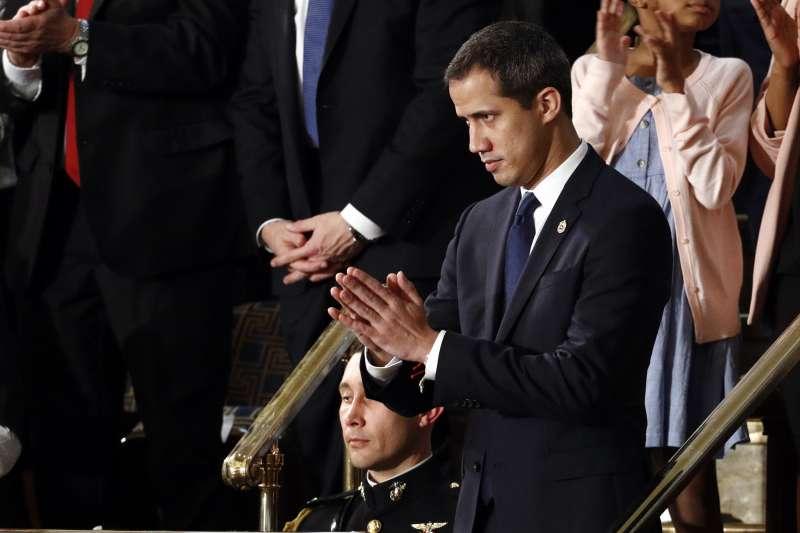 2020年2月4日,美國總統川普發表國情咨文,委內瑞拉反對派領袖瓜伊多(JuanGuaido)獲邀出席(AP)