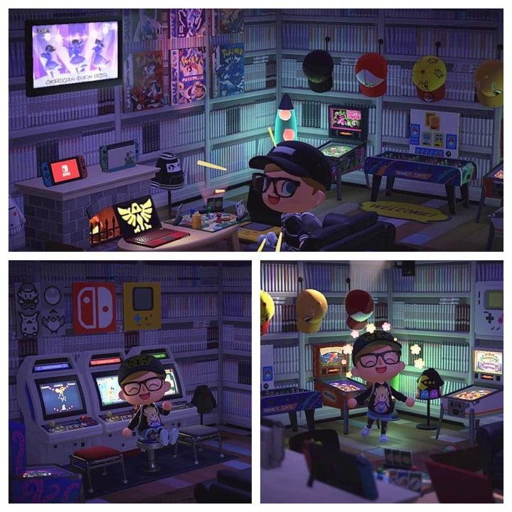 A montage of images showing an Animal Crossing character sitting in a room full of games, arcade cabinets, and consoles