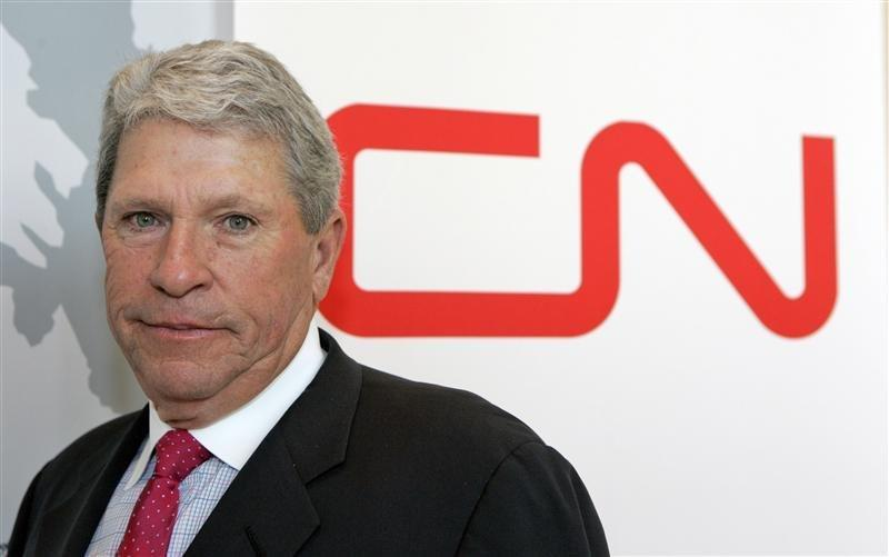 Former Canadian National Railway President and Chief Executive Officer E. Hunter Harrison leaves the company's annual meetingin Chicago.