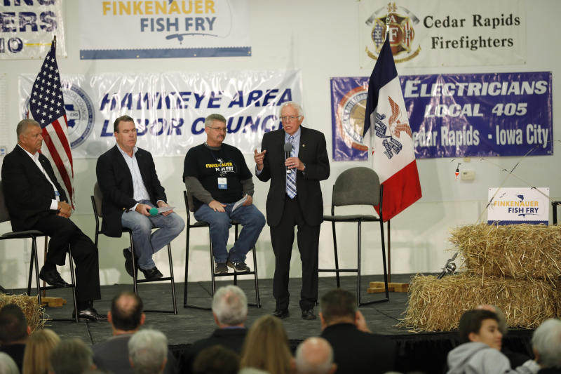 Democratic presidential candidate Sen. Bernie Sanders speaks during a fund-raising fish fry for U.S. Rep. Abby Finkenauer, D-Iowa, Saturday, Nov. 2, 2019, at Hawkeye Downs Expo Center in Cedar Rapids, Iowa. (AP Photo/Charlie Neibergall)