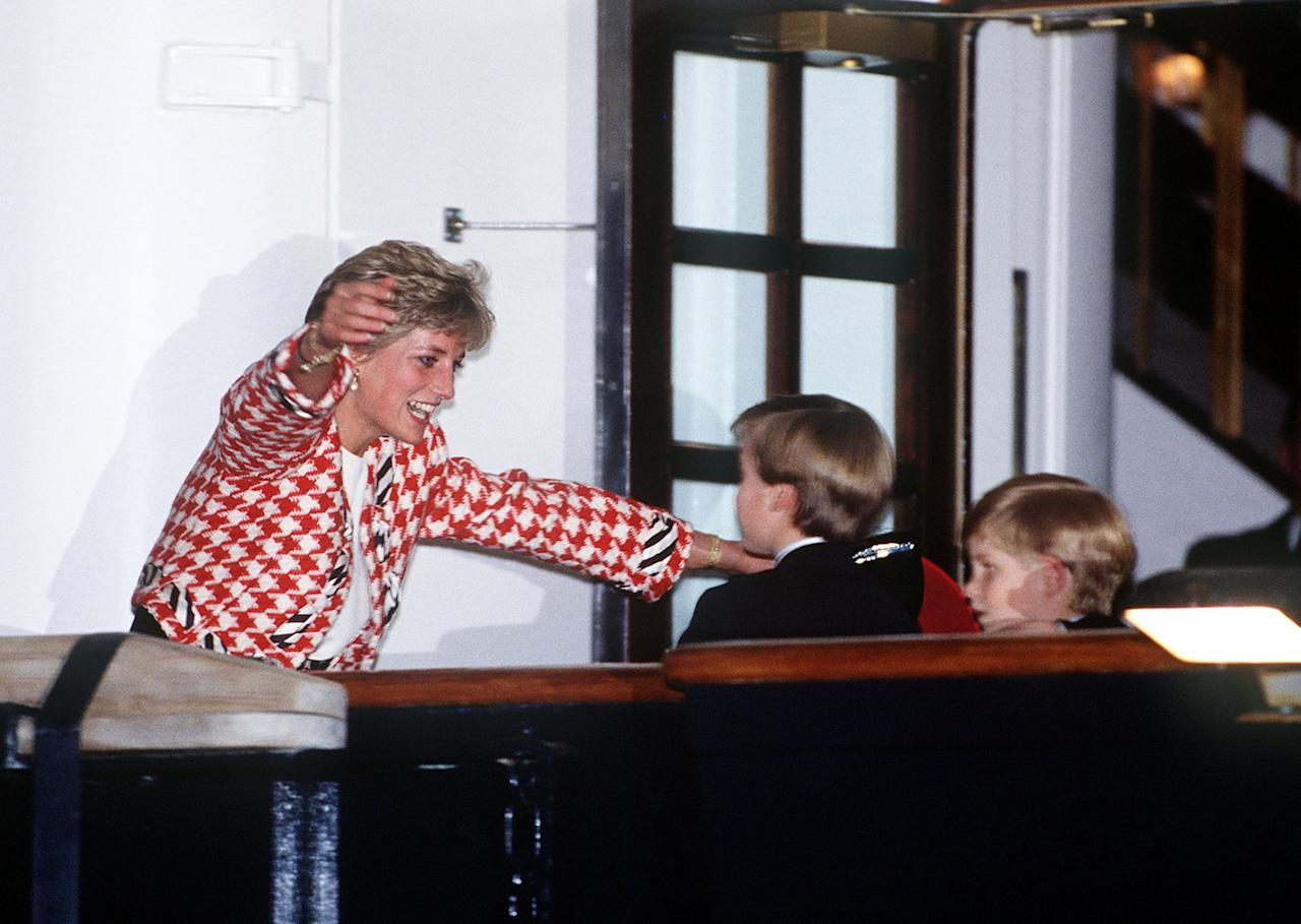 """<p>Until Diana came along, the royal family had always been very proper in public. There was no holding hands, no kissing, and no hugging - so Diana's tactile nature tore up the rulebook on protocol, and her sons appreciate that still now. In 2017, Harry recalled in a <a href=""""http://www.telegraph.co.uk/news/2017/07/22/princes-william-harrytell-regret-last-conversation-mother/"""" target=""""_blank"""" class=""""ga-track"""" data-ga-category=""""Related"""" data-ga-label=""""http://www.telegraph.co.uk/news/2017/07/22/princes-william-harrytell-regret-last-conversation-mother/"""" data-ga-action=""""In-Line Links"""">documentary to mark the 20th anniversary of Diana's passing</a>, """"She would just engulf you and squeeze you as tight as possible. And being as short as I was then, there was no escape, you were there and you were there for as long as she wanted to hold you. Even talking about it now I can feel the hugs that she used to give us."""" </p> <p>While Harry has been known to offer hugs as he's greeting young fans, William is always on hand for a <a href=""""https://www.popsugar.com/celebrity/Cute-Prince-George-Prince-William-Pictures-34626327"""" target=""""_blank"""" class=""""ga-track"""" data-ga-category=""""Related"""" data-ga-label=""""https://www.popsugar.com/celebrity/Cute-Prince-George-Prince-William-Pictures-34626327"""" data-ga-action=""""In-Line Links"""">kiss and a cuddle with his children</a>.</p>"""