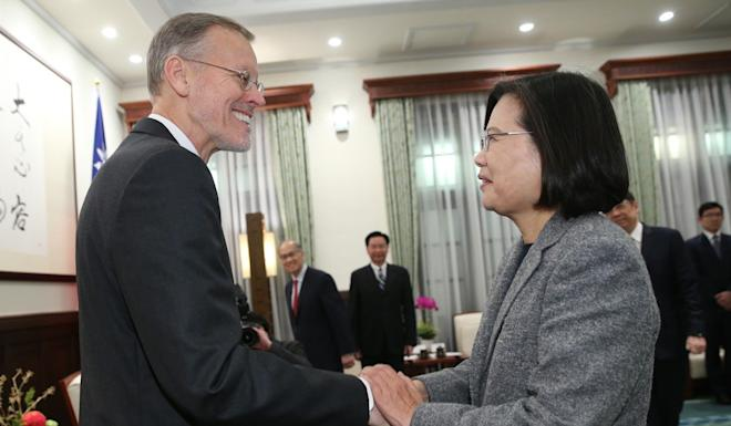 Brent Christensen, director of the American Institute in Taiwan, meets President Tsai Ing-wen on Sunday. Photo: CNA
