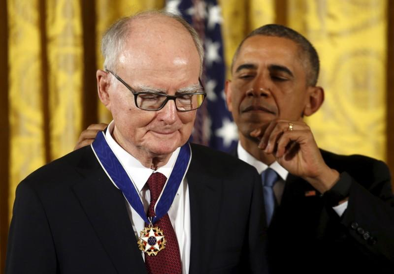 U.S. President Barack Obama presents the Presidential Medal of Freedom to William Ruckelshaus during an event in the East Room of the White House in Washington