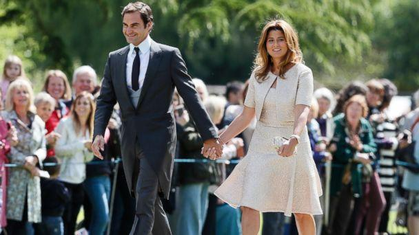 PHOTO: Swiss tennis player Roger Federer and his wife Mirka arrive at St Mark's Church in Englefield, England, ahead of the wedding of Pippa Middleton and James Matthews, May 20, 2017. (Kirsty Wigglesworth, Pool via AP)