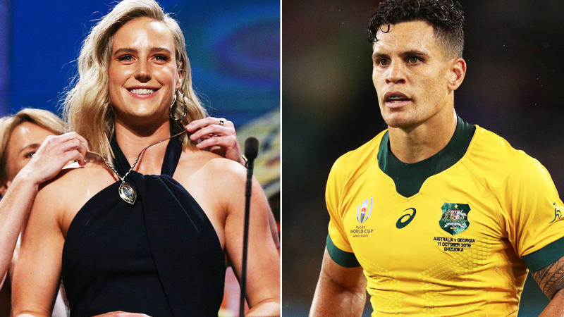 Ellyse Perry and Matt To'ouma, pictured here in action in their respective sports.