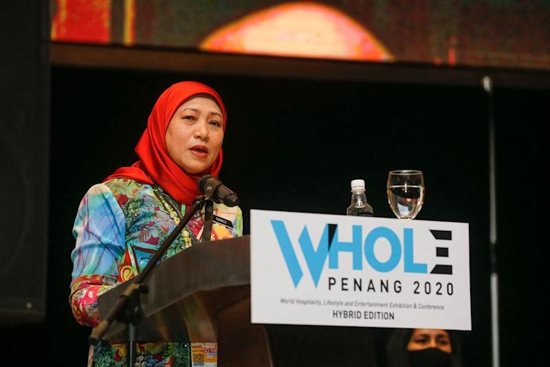 Minister of Tourism, Arts and Culture Datuk Seri Nancy Shukri delivers her speech at the Subterranean Penang International Convention and Exhibition Centre in Bayan Lepas September 10, 2020. — Picture by Sayuti Zainudin